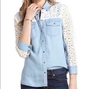 Anthropologie Chambray & Lace Buttondown